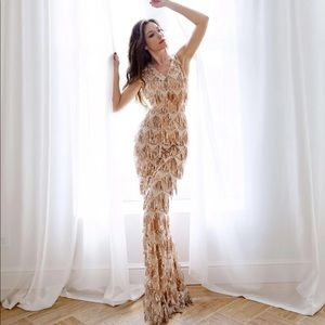 Gold Tassel Sequin Sleeveless Beaded Evening Gown